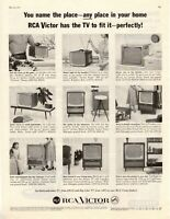 1957 ORIGINAL VINTAGE RCA VICTOR TELEVISION MAGAZINE AD **