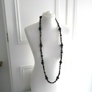 Black Grey Long Round Smooth Chunky Plastic Beaded Necklace Goth Rock Steampunk