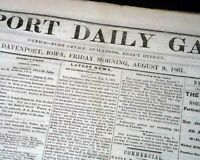 Rare DAVENPORT Iowa Civil War Battle of Dug Springs Missouri 1861 Old Newspaper