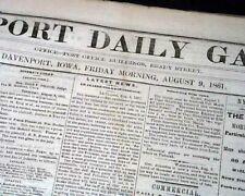 Rare DAVENPORT Iowa Civil War Battle of Dug Springs Missouri 1861 Old Newspaper