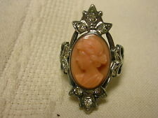 Antique Sterling Silver Glass Cameo Pink Ring Size 5 1/2 Rhinestones