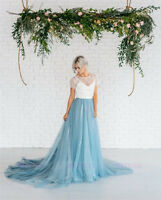Ivory Lace Dusty Blue Long Train Wedding Skirts Bridal Gown Wedding Dress