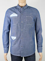 Belfield mens blue long sleeve cotton shirt size small medium (M5037)