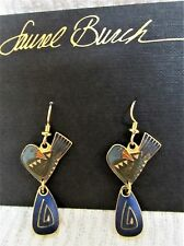 Rare VINTAGE Signed LAUREL BURCH Colorful PEACE Bird Dangle EARRINGS