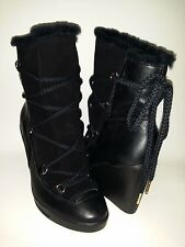 MICHAEL KORS Black Leather & Suede Wedge Boot Woman's Size 6-M BOX