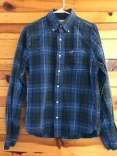 *HOLLISTER* Men's Blue/Yellow/Green Plaid Button Front Long Sleeve Shirt Size M