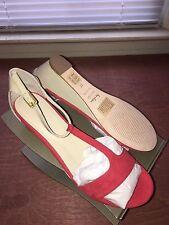 BODEN T-Bar Demi Wedges Pink & Tan Women's Sandals Size 6.5 M  AR575  NEW