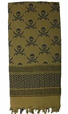Rothco Coyote Brown Skull & Swords Shemagh Scarf - Cotton Desert Neck Head Wrap