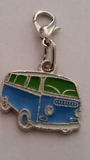 Anhänger VW Bus Bulli Emaille blau grün Charm Karabiner Einhänger Auto NEU