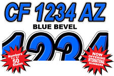 Blue Custom Boat Registration Numbers Decals Vinyl Lettering Stickers USCG