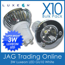 10 x 240V 3W LUXEON LED GU10 WHITE DOWN LIGHT/DOWNLIGHT GLOBES CEILING LIGHTS