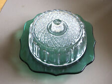 Green Covered Butterdish-Green Bottom/Clear Cover
