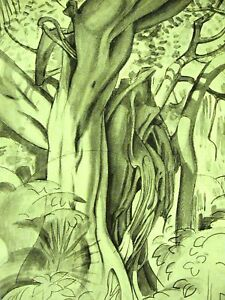 Thevenaz FLORIDA TWISTED TREE TRUNKS 1922 Print Matted