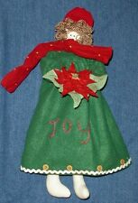 "JOY ANGEL Cranberry Patch Hanging Christmas Doll 14"" Christmas Holiday Decor"
