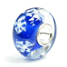 Sterling Silver Snowflake Let It Snow Glass f/ Christmas European Charm Bracelet