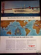 1965 SS Presidend Roosevelt cruise Round The World ad