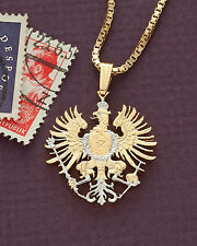 "Germany Phoenix Pendant & Necklace, Germany Cut Coin, 7/8"" diameter, ( # 118 )"