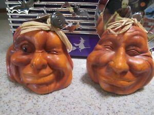 "NEW Set of 2 Resin Halloween Pumpkins Human Facial Expressions, 4"" Walter & Bob"