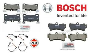 For Audi Q7 Front & Rear Brake Pad Set w/ 2 Front & 2 Rear Sensors Bosch/Pex