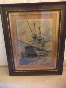 OLD ANTIQUE OAK WOODEN PICTURE FRAME PORTRAIT VINTAGE HMS VICTORY MARITIME