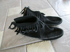 MINNETONKA BLACK SUEDE MOCCASIN FRINGE SHOES WOMENS 9-10  FREE SHIP!