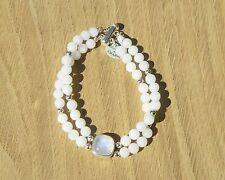 "Sterling Silver Vintage Style Moonstone & White Chinese Jade Bracelet, 7 3/4"""