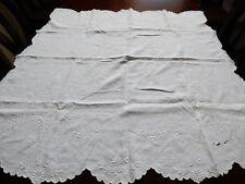 VTG Madeira White Cotton Embroidery cut work Decor Accent tea Tablecloth 43X42