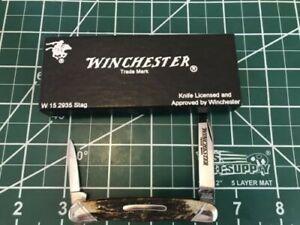"1991 WINCHESTER BRAND KNIFE--GENUINE STAG 3 5/8 "" 2BLD CONGRESS PEN NIB!"