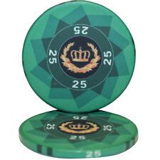 50pcs LAUREL CROWN CERAMIC POKER CHIPS 25 DENOMINATION