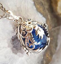 Teardrop  Locket   Blue Cremation Urn Necklace Teardrop Urn Pendant Glass Locket