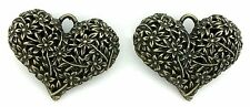 4 PEWTER ANTIQUED BRONZE LEAD FREE FILIGREE HEART PENDANT CF816