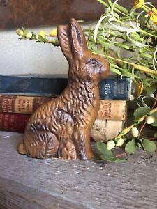"Primitive Chocolate Bunny Rabbit Resin Mold Figurine ~ 5"""