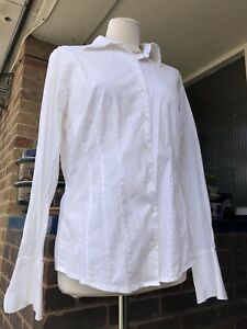 LONG TALL SALLY UK 16. White Shirt Cotton Stretch Button-Up Collar Long Sleeve