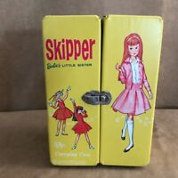 Vintage 1967 Skipper doll case yellow Barbie storage wardrobe vinyl  sister