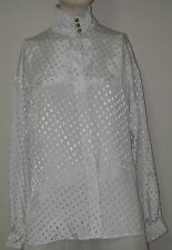 Women Clothing BLOUSE White long sleeve Cowl Ruched collar Hidden Button Gianna.