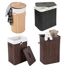 Bamboo Folding Laundry Hamper Basket With Lid Washing Clothes Storage Bag Home