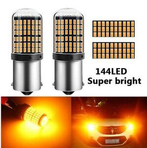 Ampoules BA15S LED ORANGE Extra P21W pour Voiture Clignotants 144 SMD 1156