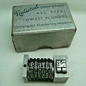 NATIONAL N.Y. USA vintage letterpress numbering machine 6-digit backwards #7