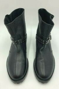 Karen Millen Ankle Boots Biker Buckle Size 6 39 Black Leather New RRP £225.00