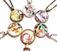 ALICE IN WONDERLAND glass pendant necklace white rabbit caterpillar drink me E1