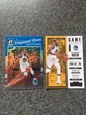 Draymond Green 2-card Lot 2017-18 Contenders Red/2016-17 Optic Holo Prizm