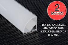 PROFILO LED ALLUMINIO ANGOLARE 2MT 1616 PER STRIP 8-10 MM COPERTURA OPACA