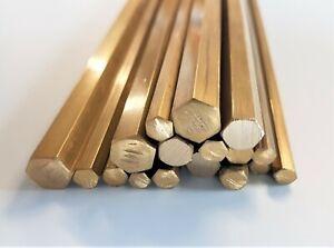 Brass Hexagonal Bar Rod Hex CZ121 - 5, 6, 8 &10mm Across Flats Various Lengths