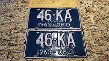 1963 Ohio License Plate Pair