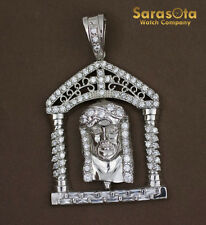 Sterling Silver 925 Heavy Jesus Face with Cubic Zirconia Christianity Pendant