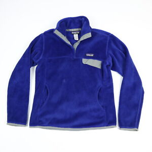 Patagonia Fleece Snap Pull Over Jacket Blue Womens size SMALL ***w/ FLAWS
