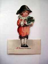 Adorable Vintage Christmas Place Card w/ Boy Holding a Box Of Candy w/ Holly *