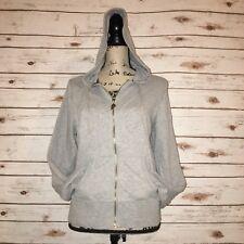 Victorias Secret Sz L Full Zip Hooded Sweater Supermodel Essentials Grey Glitter