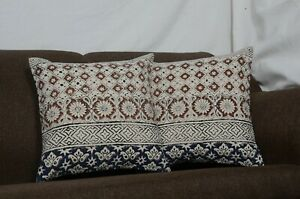2 Set of Vintage Indigo block print Cushion Covers Indian Decorative Pillow 1439