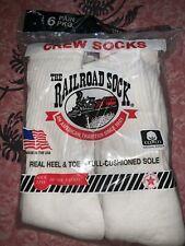 Railroad Sock ~ NEW 6-Pair White Socks Crew  USA Sock Size 10-13 Shoe Size 6-12